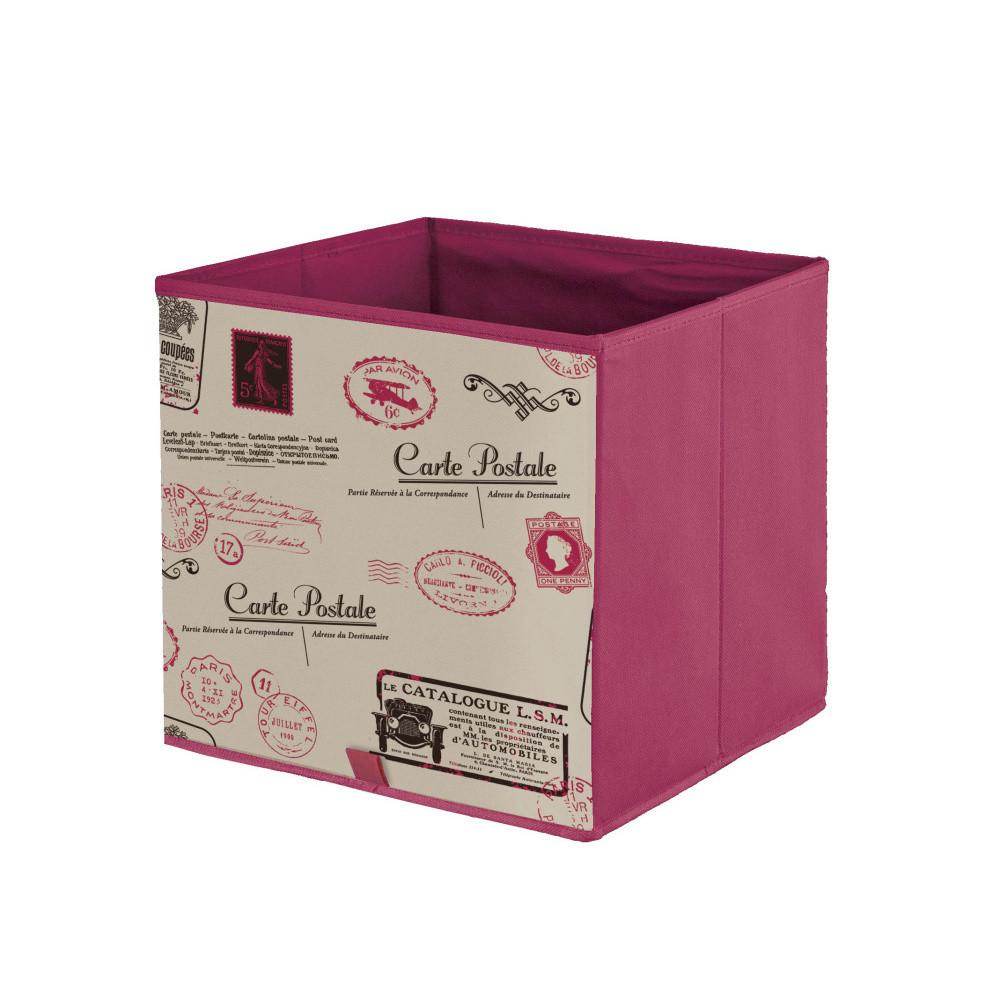 Fialová úložná krabica Domopak Stamps
