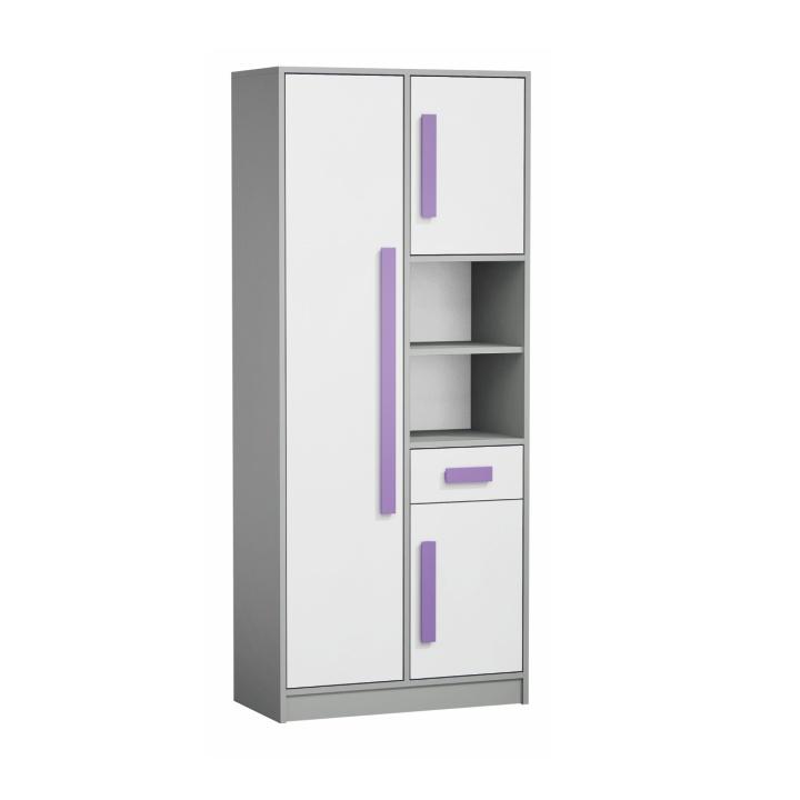 Skriňa PIERE P03   Farba: sivá/biela/fialová