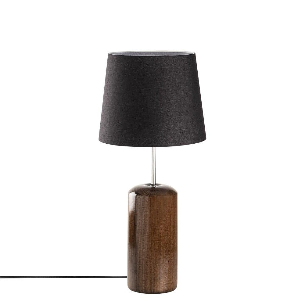 Čierna drevená stolová lampa Opviq lights Harula