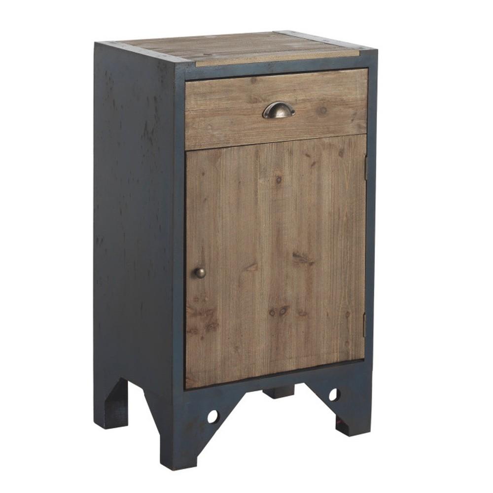 Modrý nočný stolík so zásuvkou Geese Retro
