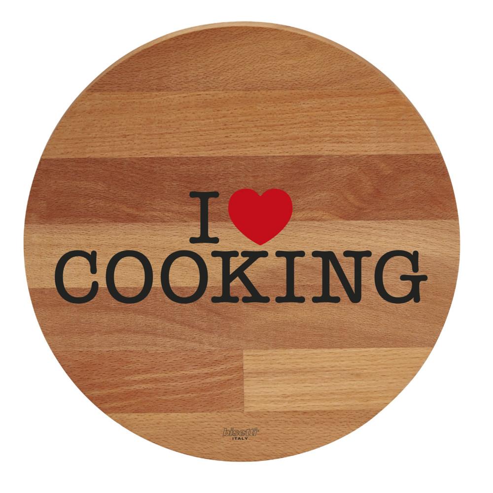 Doska z bukového dreva I Love Cooking, 30 cm