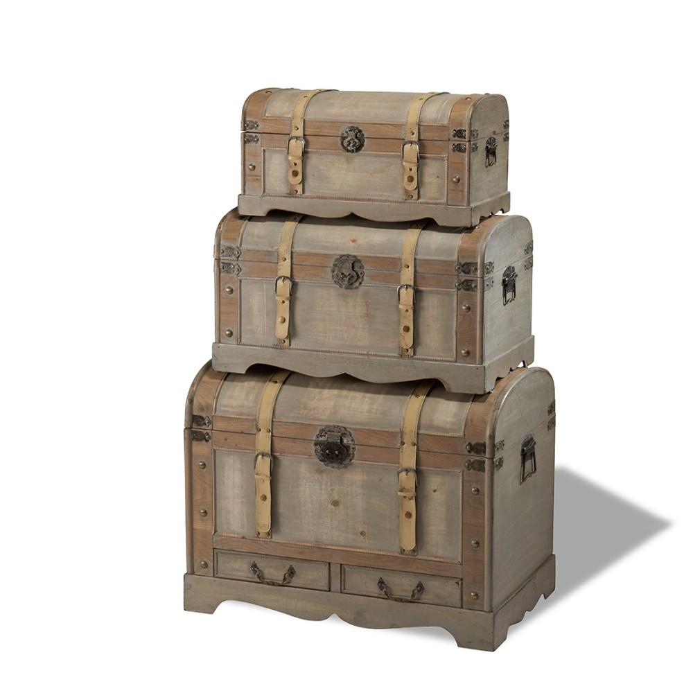 Sada 3 drevených dekoratívnych truhlíc Knuds Trunks Countryside
