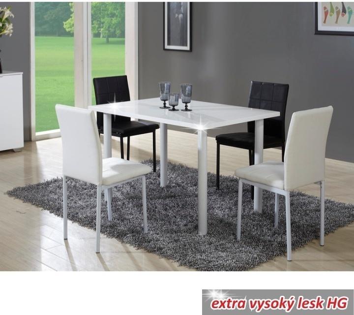 Jedálenský stôl, biela, extra vysoký lesk, UNITA