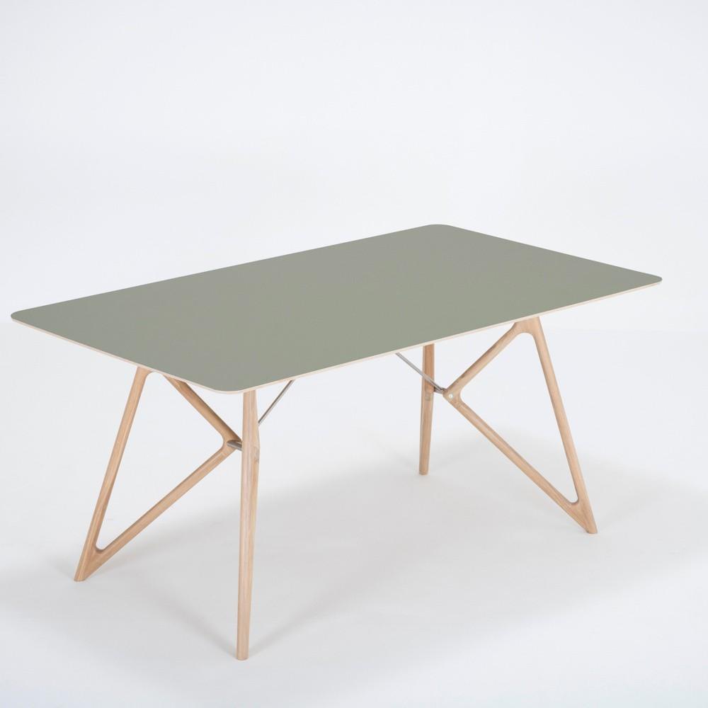 Jedálenský stôl z masívneho dubového dreva so zelenou doskou Gazzda Tink, 160×90cm