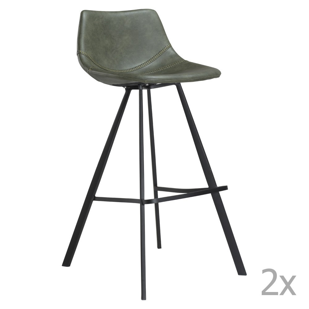 Sada 2 zelených barových stoličiek s čiernym kovovou podnožou DAN– FORM Pitch