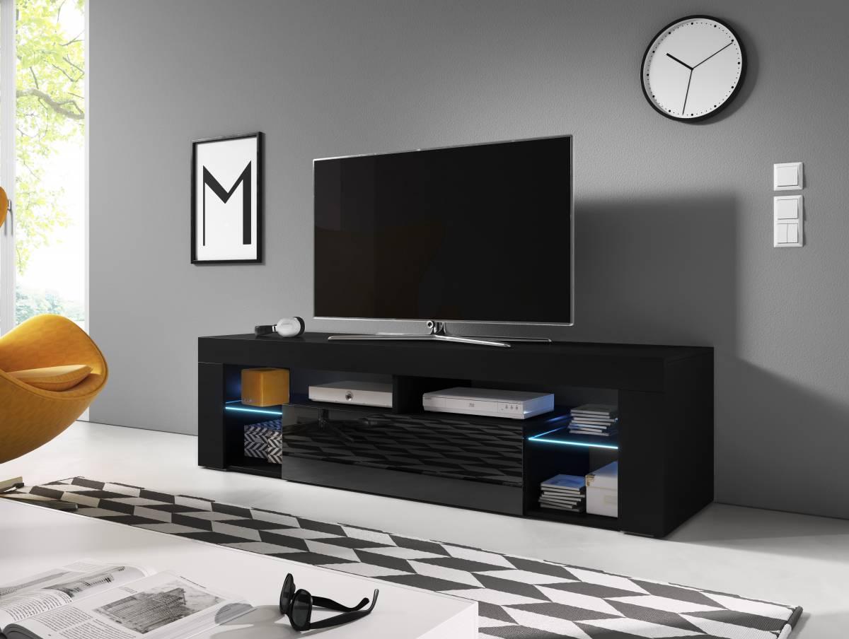 TV stolík/skrinka Everest (čierny lesk + čierna matná)