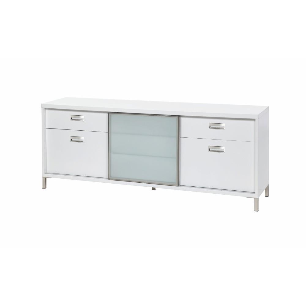 Biely televízny stolík so 4 zásuvkami Folke Satyr, výška 71 cm