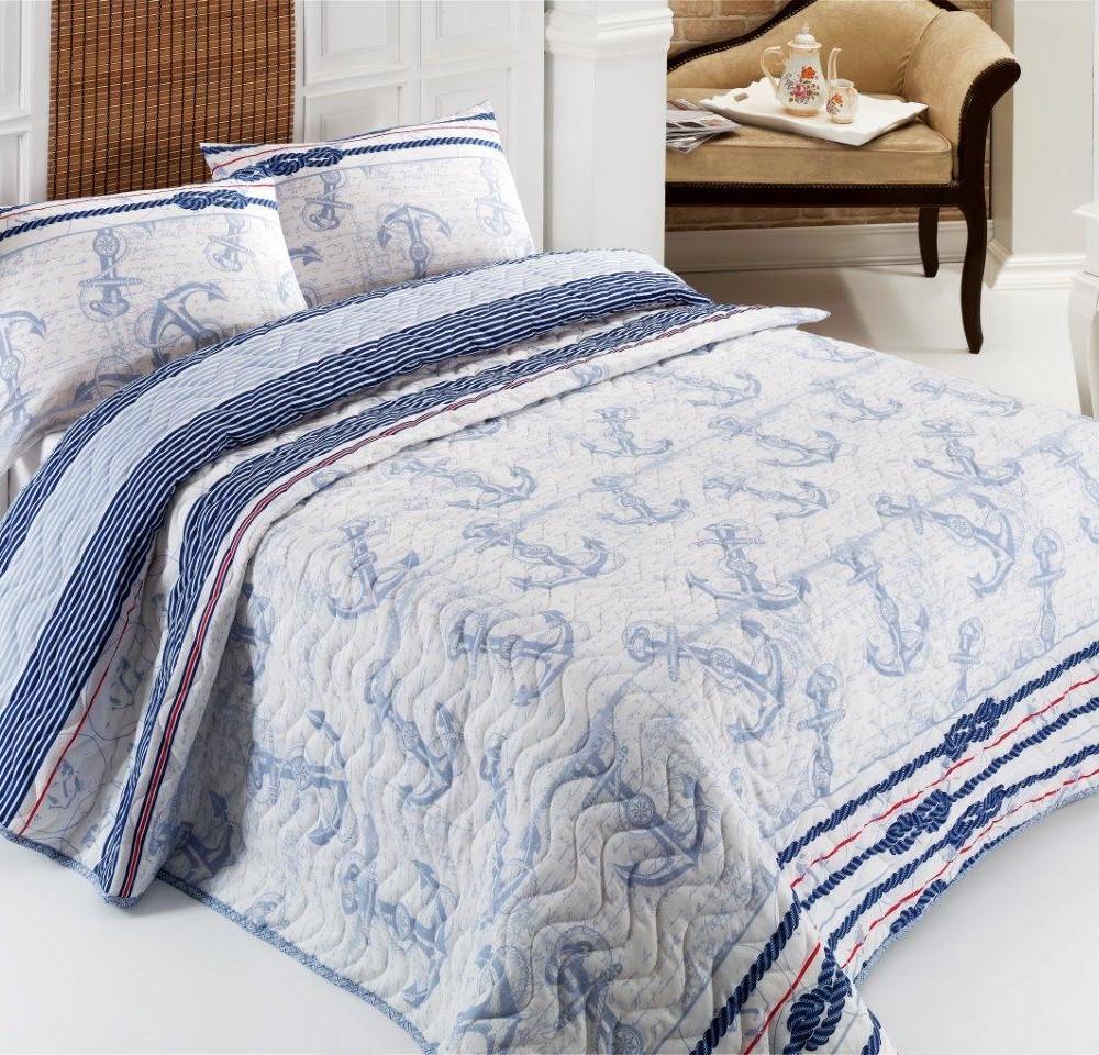 Sada prešívanej prikrývky na posteľ a vankúša Capa Light Blue, 200x220cm