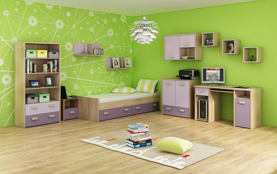 Detská izba KITTY 3   Farba: Dub sonoma svetlá / levanduľa / fialová