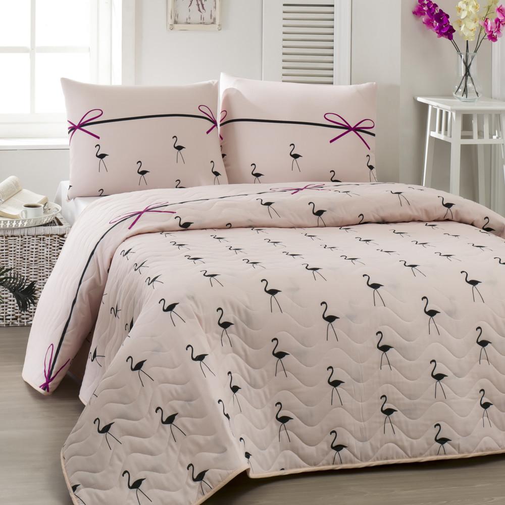 Prešívaná ľahká prikrývka s obliečkami na vankúše Flamingo Powder,200x220cm