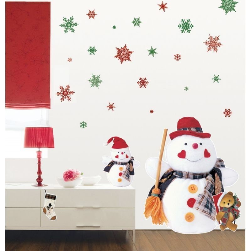 Samolepka Fanastick Christmas Red Flakes, 30 kusov