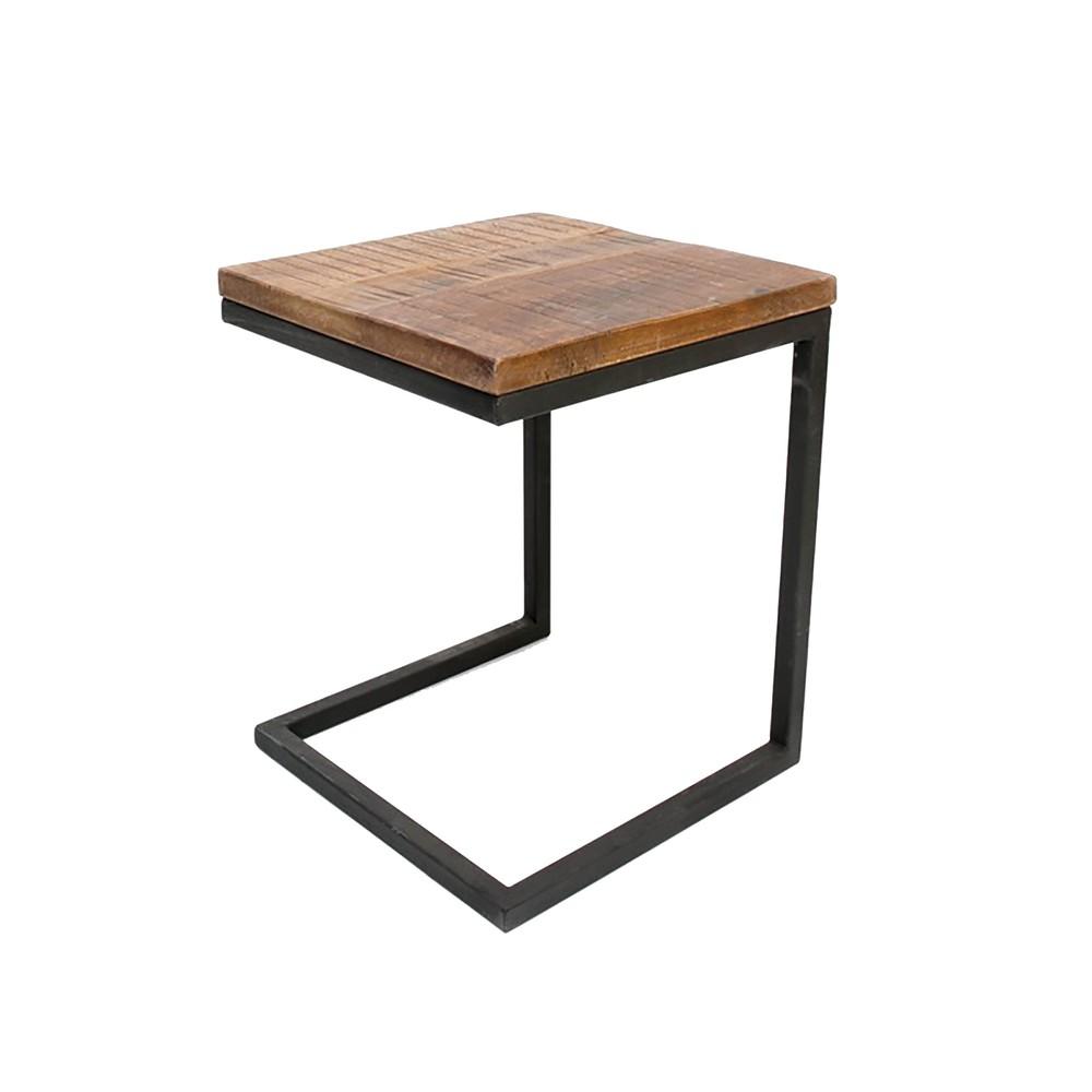 Čierny príručný stolík s doskou z mangového dreva LABEL51 Box