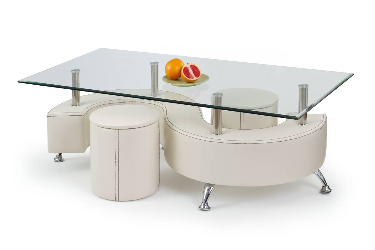 Konferenčný stolík NINA 3 H biela (s taburetkami)