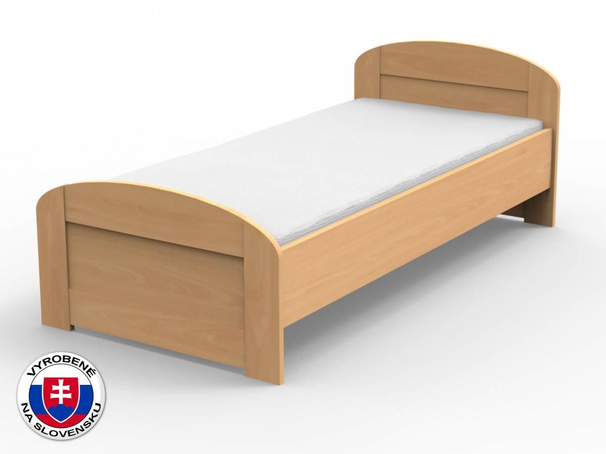 Jednolôžková posteľ 210x120 cm Petra oblé čelo pri nohách (masív)