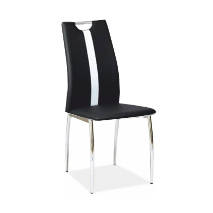 Stolička, čierna/biela ekokoža + chrom nohy, SIGNA