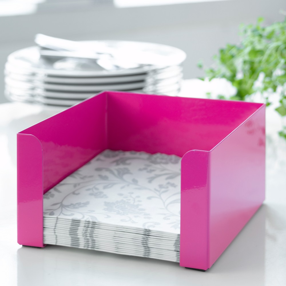 Ružový box na obrúsky Steel Function