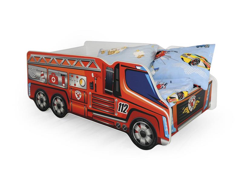 Jednolôžková posteľ 80 cm Fire Truck (s roštom a matracom)