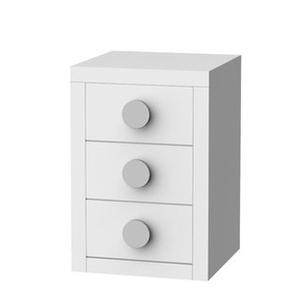 Biely nočný stolík s 3 zásuvkami Trébol Mobiliario Sport