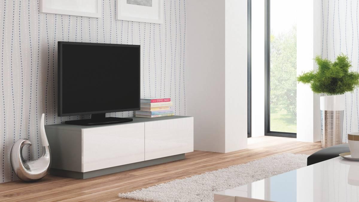 TV stolík/skrinka Livo RTV-160S (sivá + lesk biely)