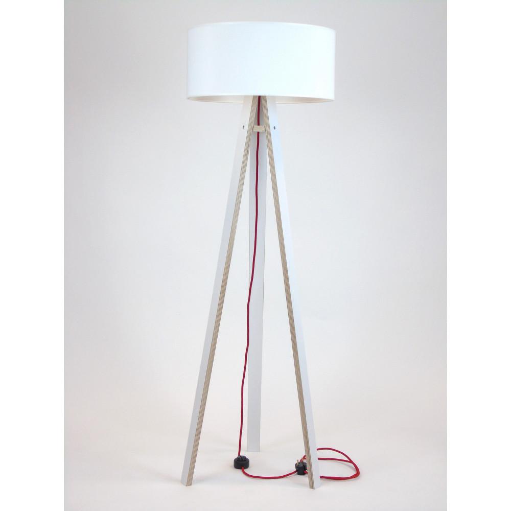 Biela stojacia lampa s bielym tienidloma červeným káblom Ragaba Wanda