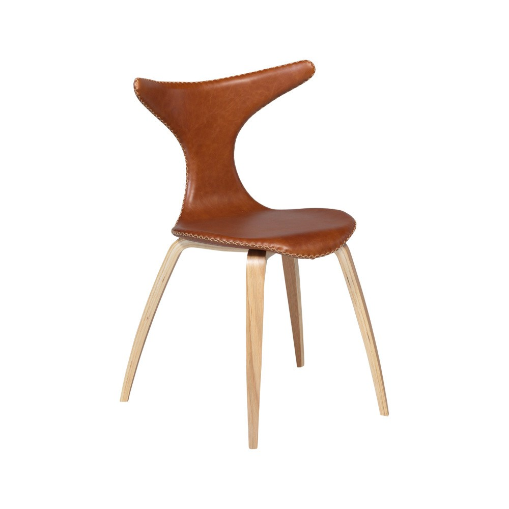 Hnedá kožená jedálenská stolička s prírodnou podnožou DAN–FORM Dolphin