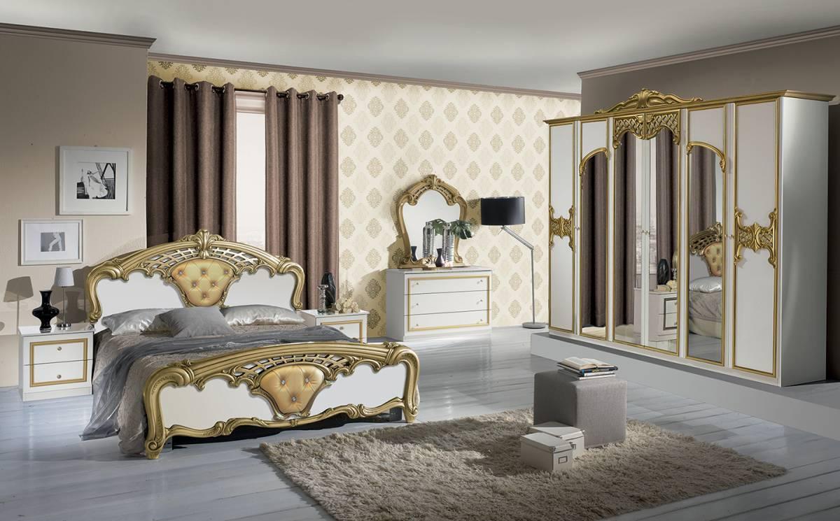 Spálňa EVO - zlatá, biela