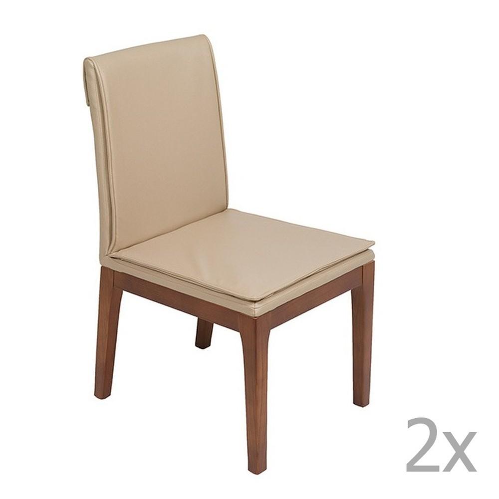 Sada 2 krémových jedálenských stoličiek s konštrukciou z dubového dreva Santiago Pons Donato