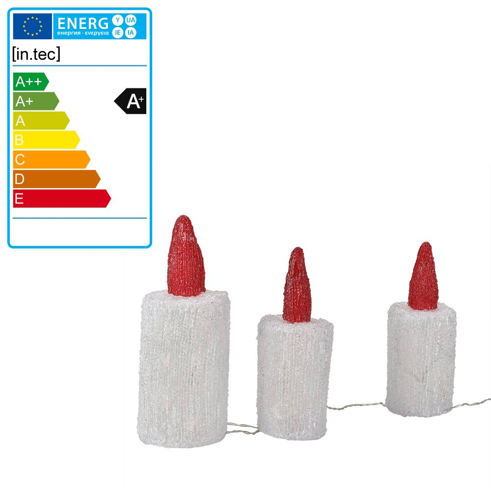 [in.tec]® LED vianočná dekorácia - 3 ks v tvare sviečky - akryl