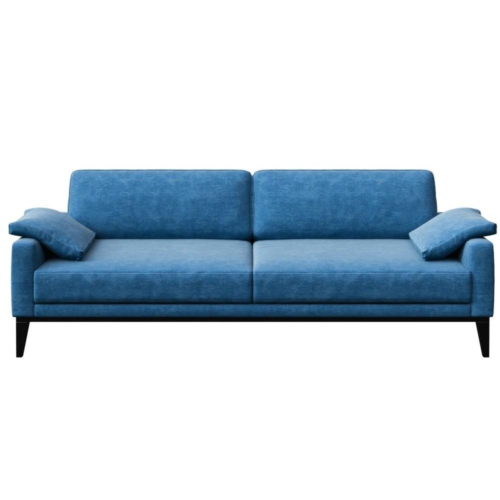Modrá trojmiestna pohovka s drevenými nohami MESONICA Musso Regular