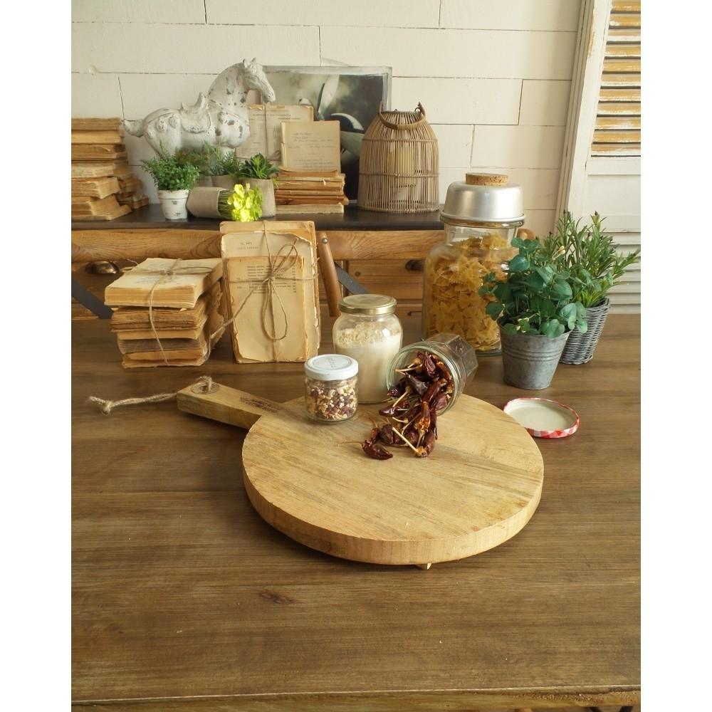 Krájacia a servírovacia doštička z mangového dreva Orchidea Milano Vintage Wood Round