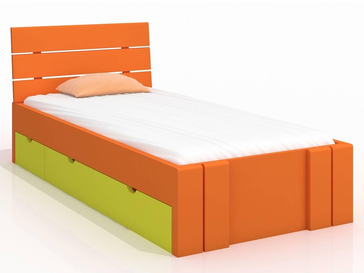 Jednolôžková posteľ 90 cm Naturlig Kids Tosen High Drawers (borovica) (s roštom)