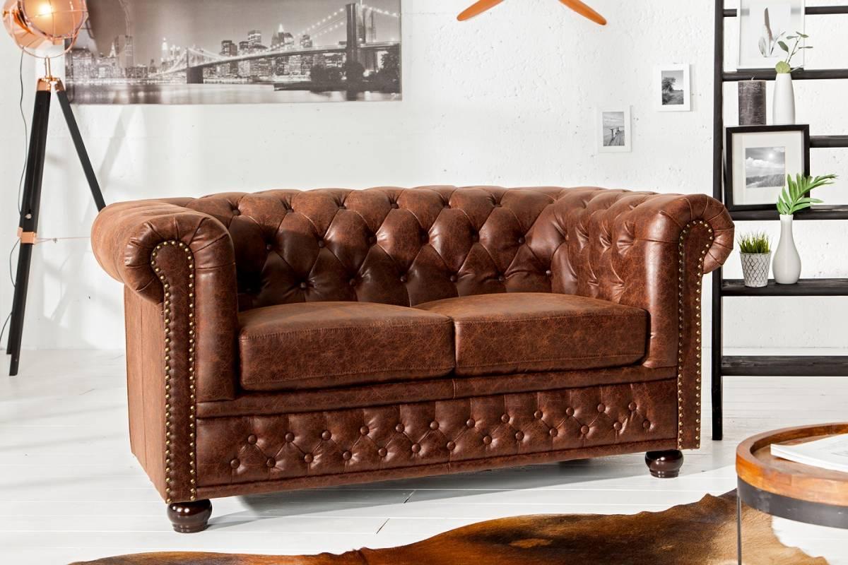 Bighome - Dvojmiestna sedačka CHESTER - hnedá