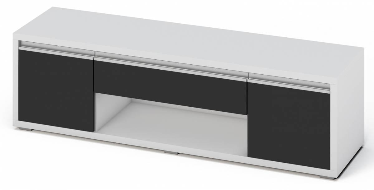 SOLEDO televízny stolík, čierny lesk/biela