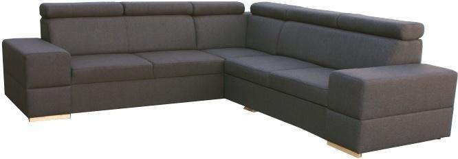 Rohová rozkladacia sedacia súprava s úložným priestorom, pravé prevedenie, látka tmavohnedá, MONAKO