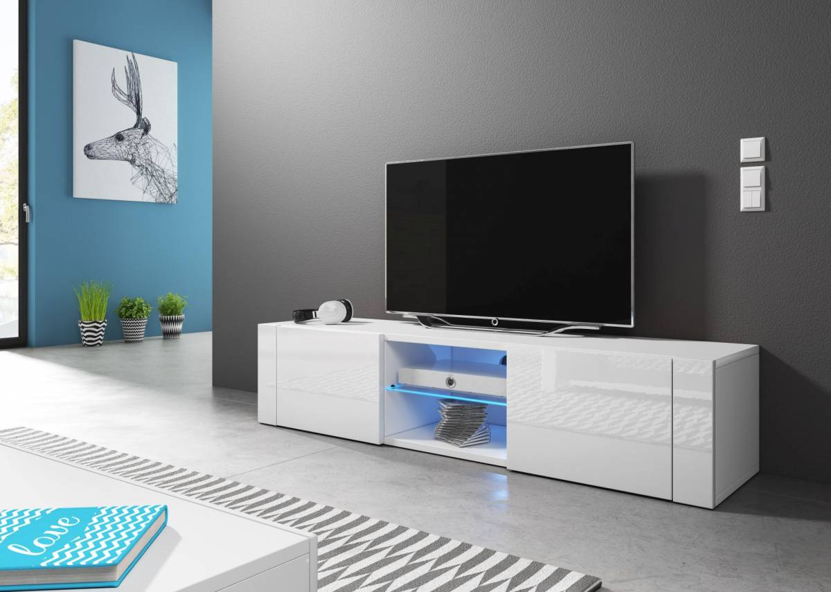 TV stolík/skrinka Hit (biely lesk + biela matná)