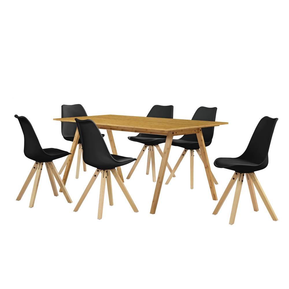 [sk.casa]® Dizajnový bambusový jedálenský stôl - 180 x 80 cm - bambus - so 6 čiernymi stoličkami