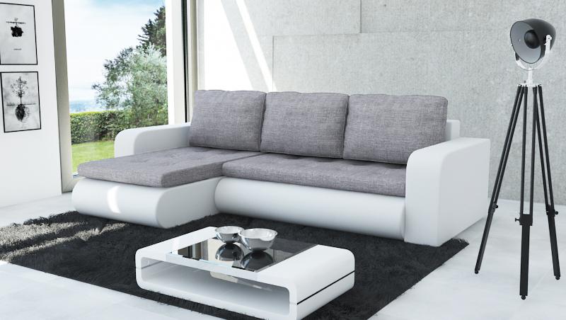 Rozkladacia rohová sedačka NEWYORK, Inari91-biela ekokoža