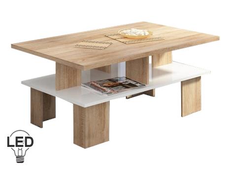 Konferenčný stolík Supra 2 (sonoma svetlá + lesk biely)