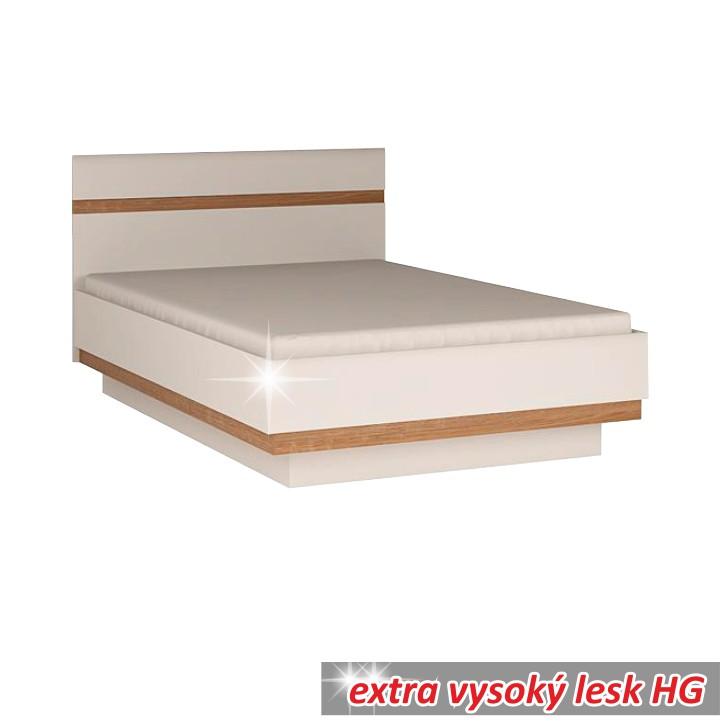 TEMPO KONDELA LYNATET 91 140 manželská posteľ - biela / biely vysoký lesk / dub sonoma truflový