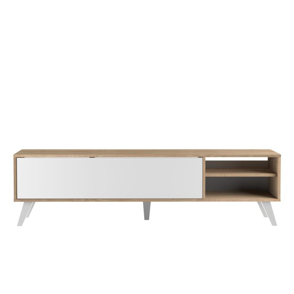 Biely televízny stolík so svetlohnedým korpusom Symbiosis Prism