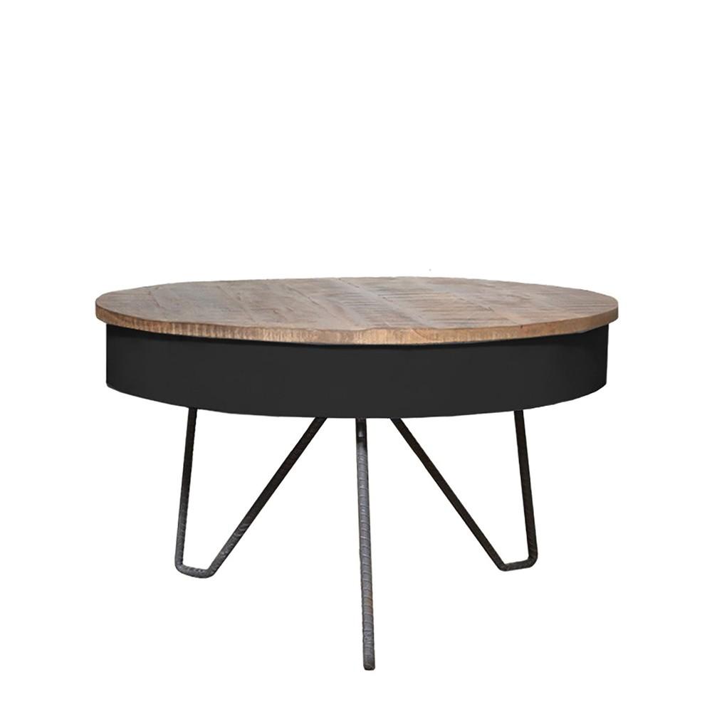 Čierny konferenčný stolík s doskou z mangového dreva LABEL51 Saria