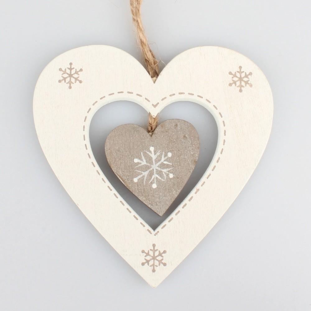 Biela závesná dekorácia v tvare srdca Dakls Heart