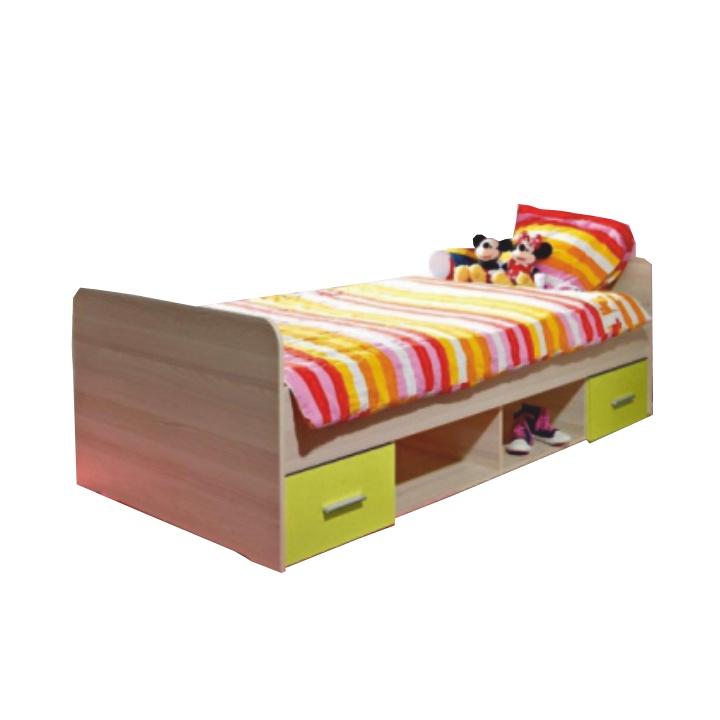 Posteľ s dvoma zásuvkami, dub sonoma/zelená, EMIO Typ 04