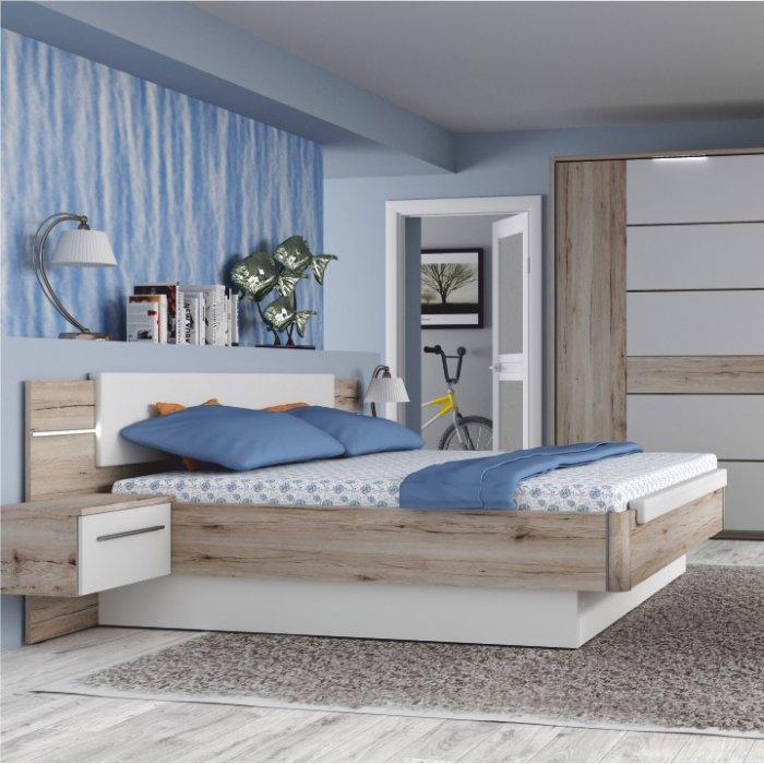 TEMPO KONDELA CANBERA 180 manželská posteľ + 2x nočný stolík - dub bergamo / biely lesk