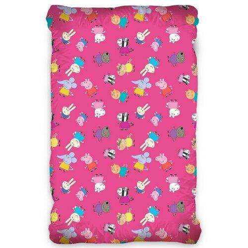 BedTex Detské bavlnené prestieradlo Prasiatko Peppa Pink, 90 x 200 cm