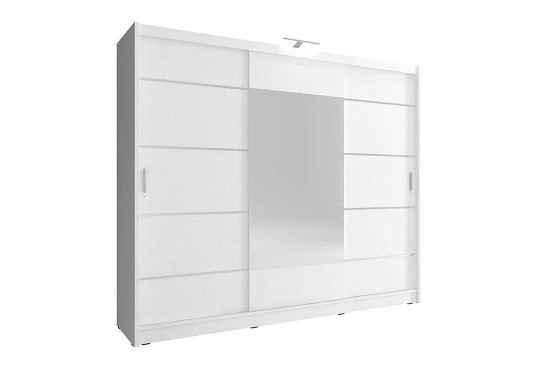 Šatníková skriňa WHITNEY 250 ALU, + LED, 62x214x250 cm, biely