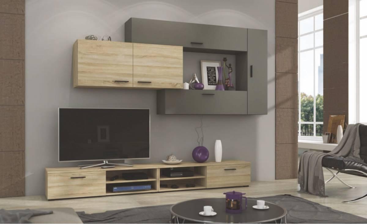Moderná obývacia stena JIME, dub sonoma/grafit