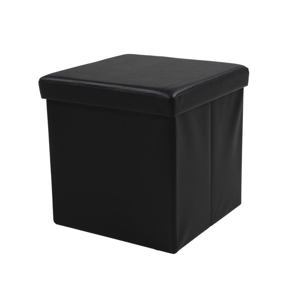 Čierna taburetka s odkladacím priestorom Auf