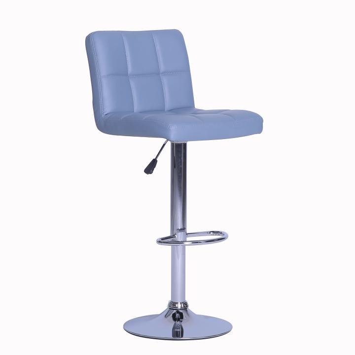 TEMPO KONDELA Barová stolička, ekokoža sivá/chróm, KANDY NEW