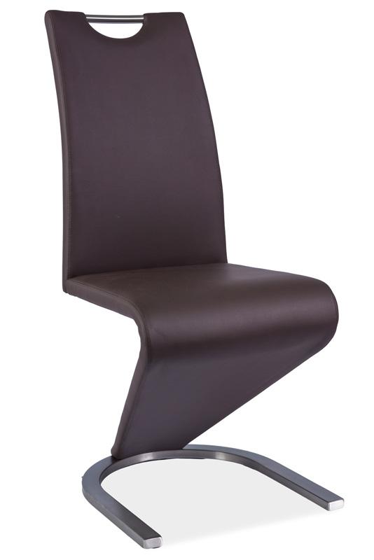 >> Jedálenská stolička HK-090, hnedá/kartáčovaná oceľ
